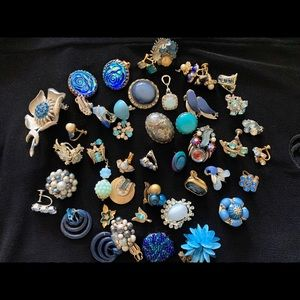 Lot VTG Blue Earrings And Findings for Crafting